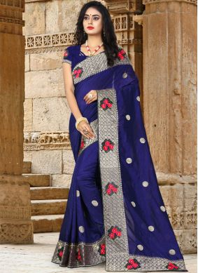 Dignified Patch Border Blue Art Silk Traditional Saree