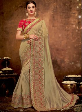 Dignified Patch Border Brown Designer Traditional Saree