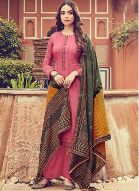 Dignified Pink Embroidered Designer Palazzo Suit