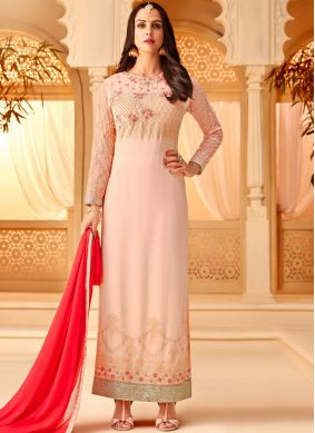 Dignified Pink Embroidered Georgette Designer Straight Salwar Kameez