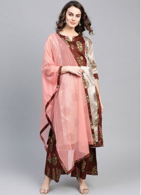 Dignified Poly Silk Print Party Wear Kurti