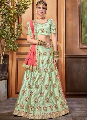 Dignified Stone Work Satin Silk Designer Lehenga Choli