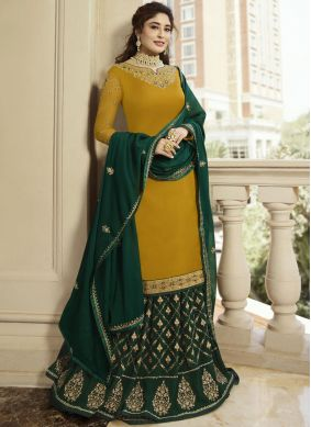 Dilettante Georgette Satin Embroidered Mustard Designer Lehenga Choli