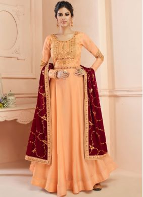 Dilettante Tussar Silk Embroidered Floor Length Anarkali Suit