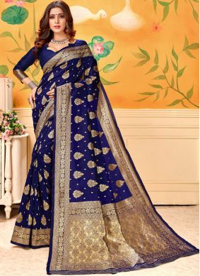 Distinctive Art Silk Navy Blue Designer Traditional Saree