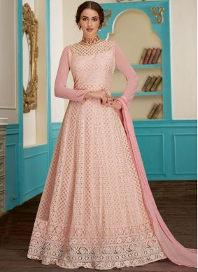 Distinctive Pink Resham Faux Georgette Floor Length Anarkali Suit