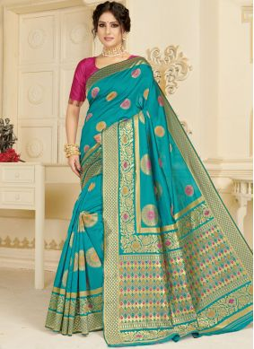 Distinctive Woven Silk Aqua Blue Casual Saree