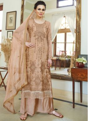 Distinctively Organza Brown Diamond Designer Palazzo Salwar Kameez