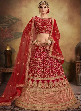 Distinctively Red Velvet Designer Lehenga Choli