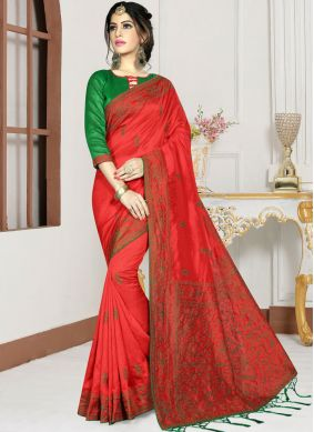 Distinctively Silk Red Zari Designer Saree