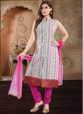 Distinguishable Print Festival Churidar Salwar Suit
