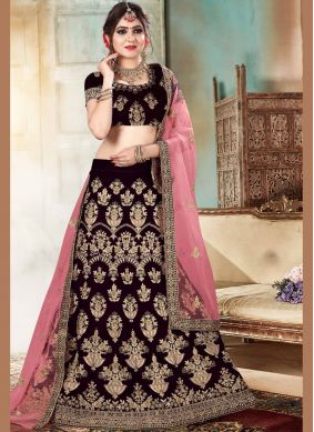 Divine Purple Embroidered Velvet Lehenga Choli
