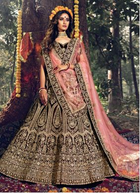 Dori Work Velvet Bollywood Lehenga Choli in Maroon