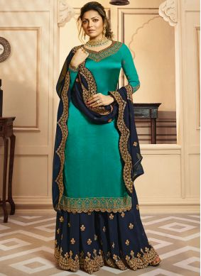Drashti Dhami Blue Embroidered Designer Palazzo Suit