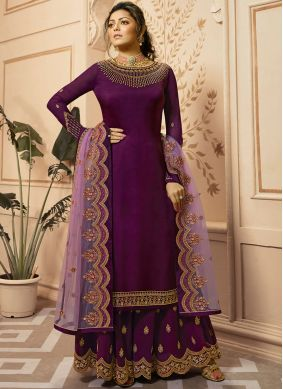 Drashti Dhami Embroidered Purple Designer Palazzo Suit