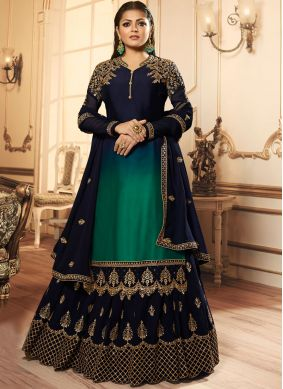 Drashti Dhami Georgette Satin Resham Green and Navy Blue Lehenga Choli