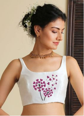 Dupion Silk Embroidered White Blouse