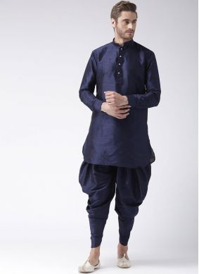 Dupion Silk Kurta Pyjama in Navy Blue