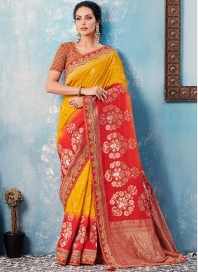 Elegant Embroidered Banglori Silk Designer Saree