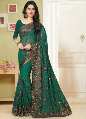 Elegant Georgette Green Embroidered Classic Saree