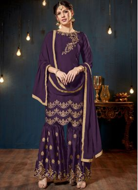 Elegant Lace Purple Faux Georgette Designer Pakistani Suit