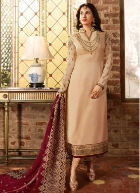 Elegant Resham Georgette Satin Cream Churidar Suit