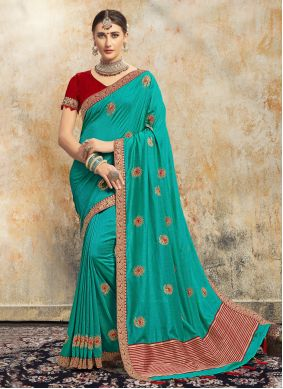 Embroidered Aqua Blue Contemporary Saree