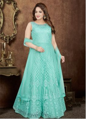 Embroidered Aqua Blue Salwar Kameez
