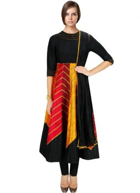 Embroidered Art Dupion Silk Salwar Suit in Black