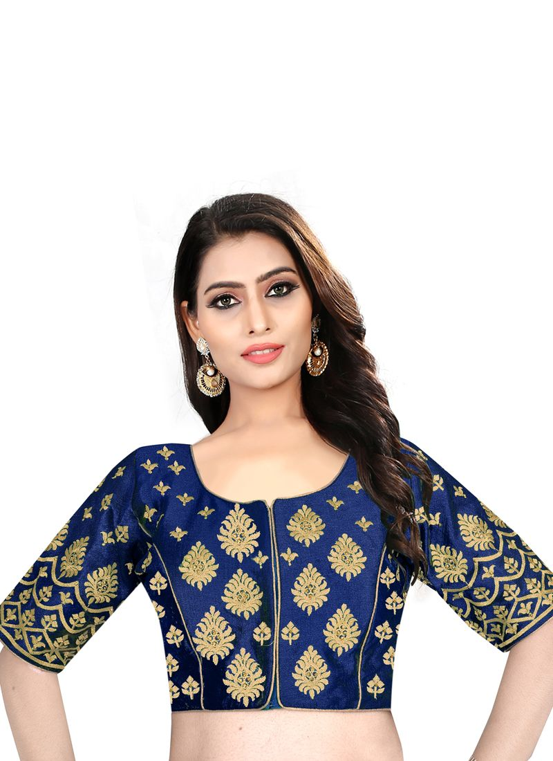 Embroidered Art Silk Blouse in Blue