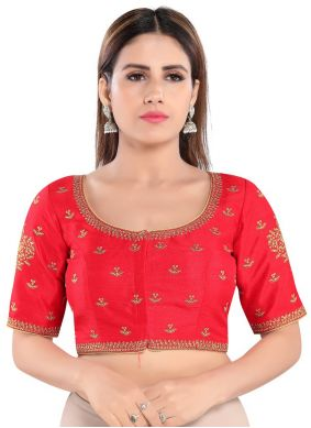 Embroidered Art Silk Blouse in Red