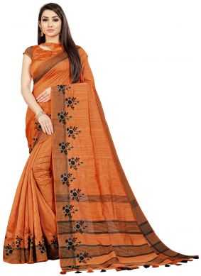 Orange Embroidered Art Silk Classic Saree