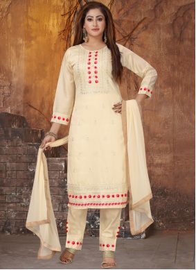 Embroidered Art Silk Cream Pant Style Suit