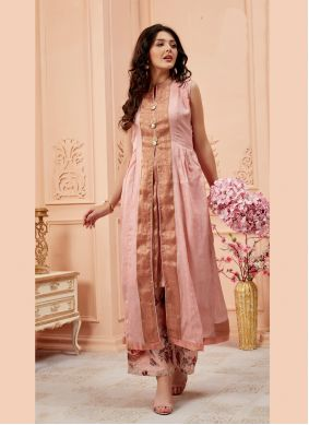 Pink Embroidered Art Silk Designer Kurti