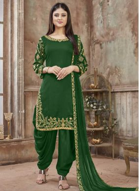 Embroidered Art Silk Designer Patiala Salwar Kameez in Green