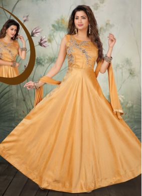 Embroidered Art Silk Cream Salwar Suit