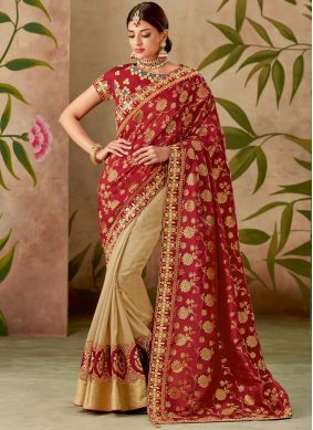 Embroidered Art Silk Half N Half Designer Saree in Cream and Red