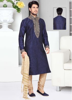 Embroidered Art Silk Kurta Pyjama in Blue