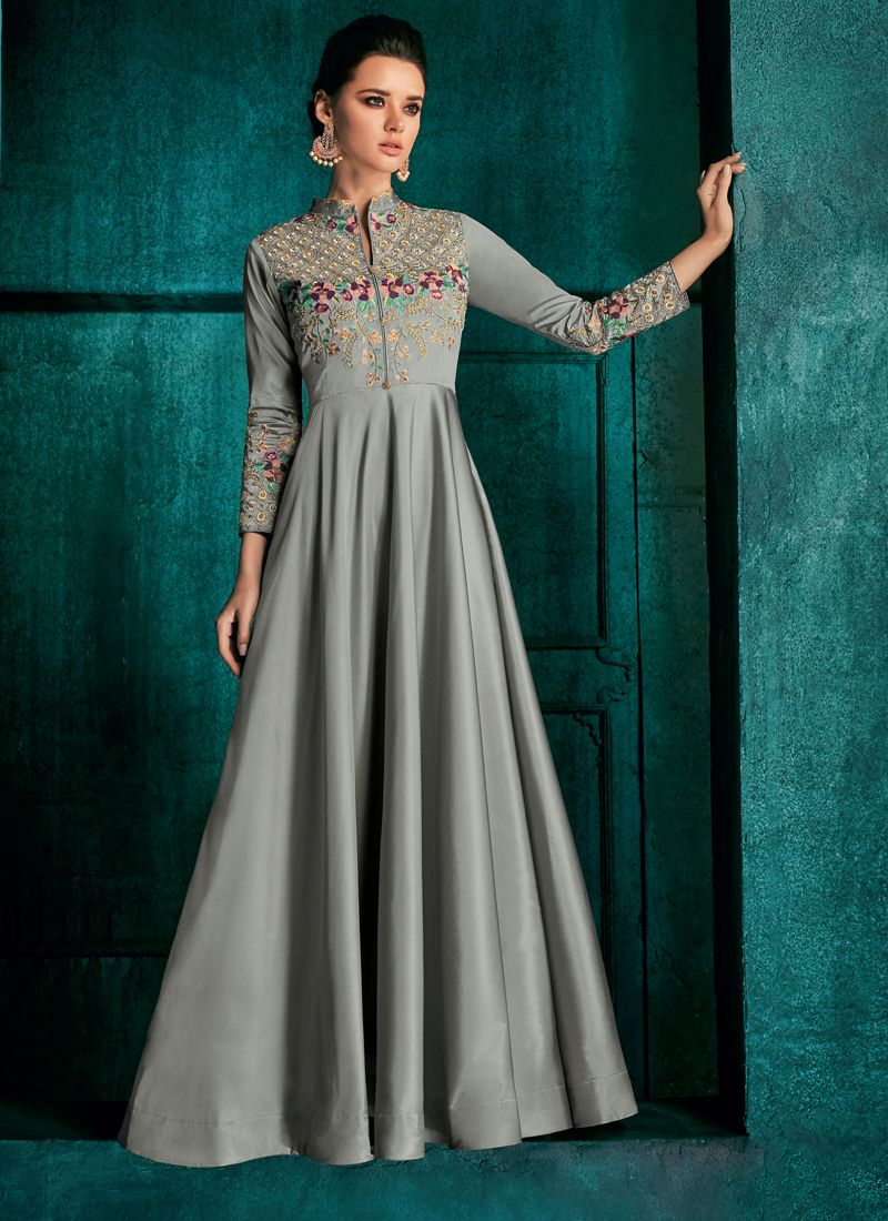 Embroidered Art Silk Readymade Gown in Grey