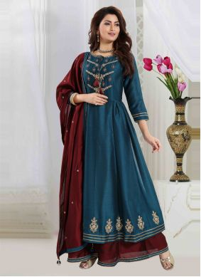 Embroidered Art Silk Readymade Suit