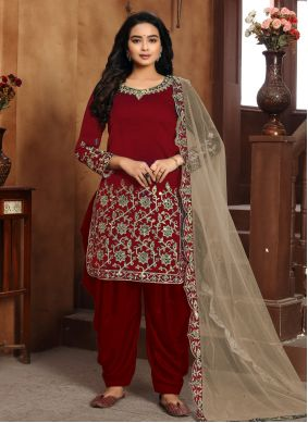 Embroidered Art Silk Red Designer Patiala Suit