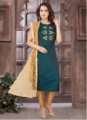 Embroidered Art Silk Teal Readymade Suit