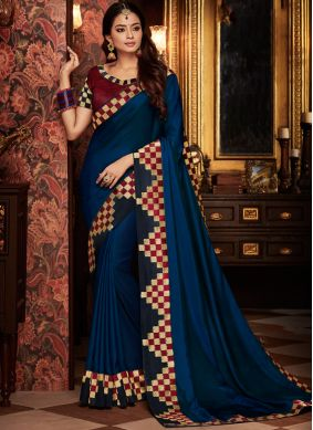 Embroidered Art Silk Traditional Designer Saree in Blue