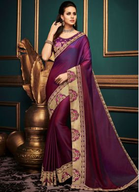 Embroidered Art Silk Traditional Saree in Purple