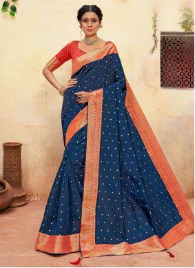 Embroidered Banarasi Silk Classic Saree in Navy Blue