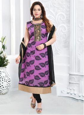 Embroidered Banarasi Silk Purple Bollywood Salwar Kameez