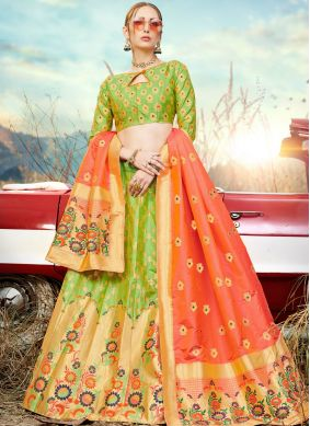Embroidered Banarasi Silk Trendy A Line Lehenga Choli in Green