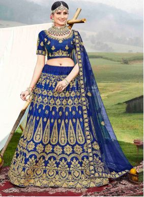 Embroidered Banglori Silk Designer Lehenga Choli in Blue