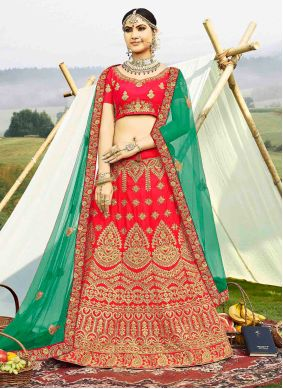 Embroidered Banglori Silk Pink Bollywood Lehenga Choli