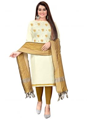 Embroidered Beige and Off White Cotton Churidar Suit